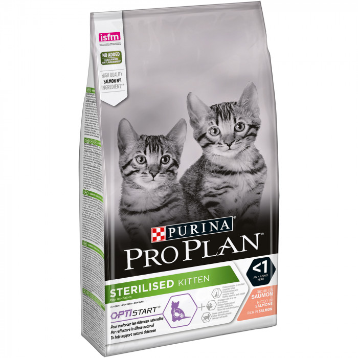 PRO PLAN OPTISTART Sterilised Kitten Salmon, sausas pašaras sterilizuotiems kačiukams su lašiša