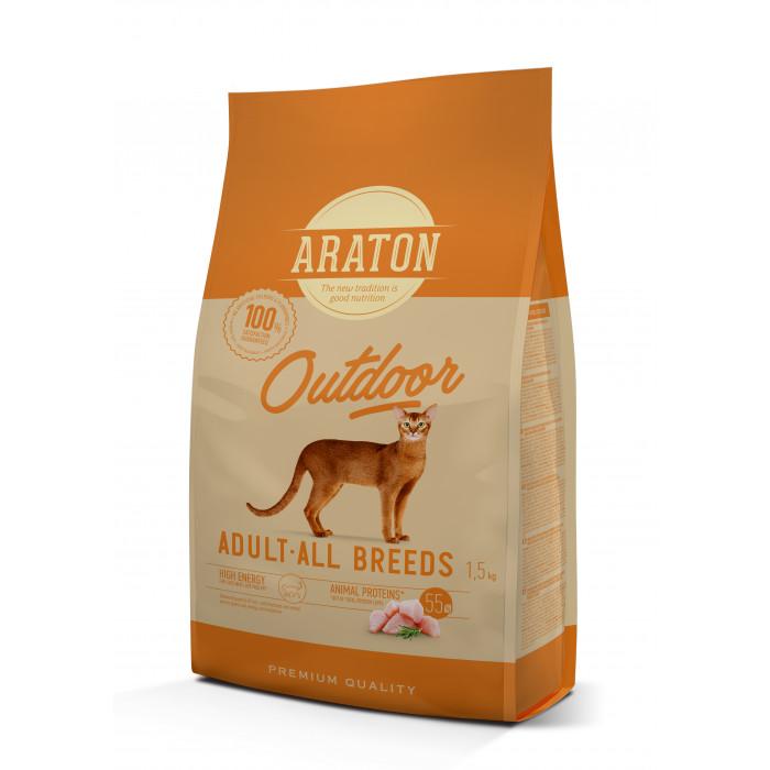 ARATON Outdoor Adult Poultry Sausas pašaras katėms