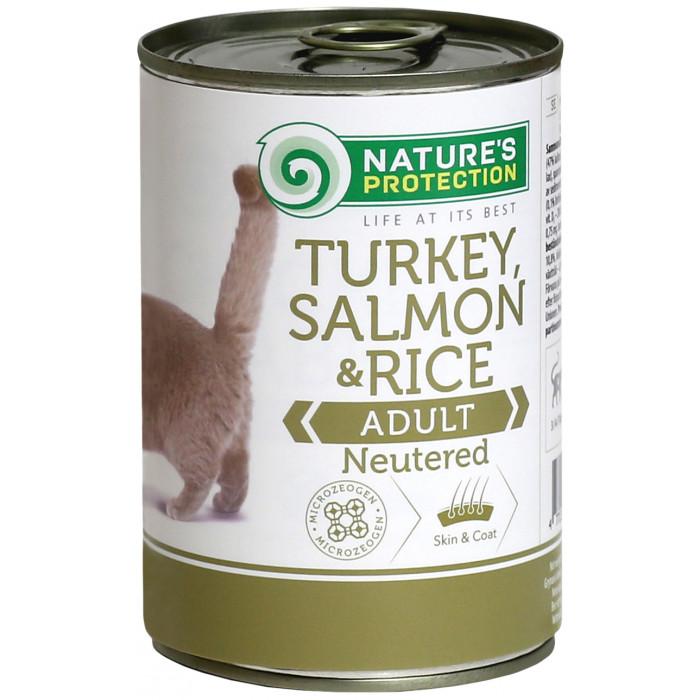 NATURE'S PROTECTION Cat Neutered Turkey, Salmon&Rice Konservuotas pašaras
