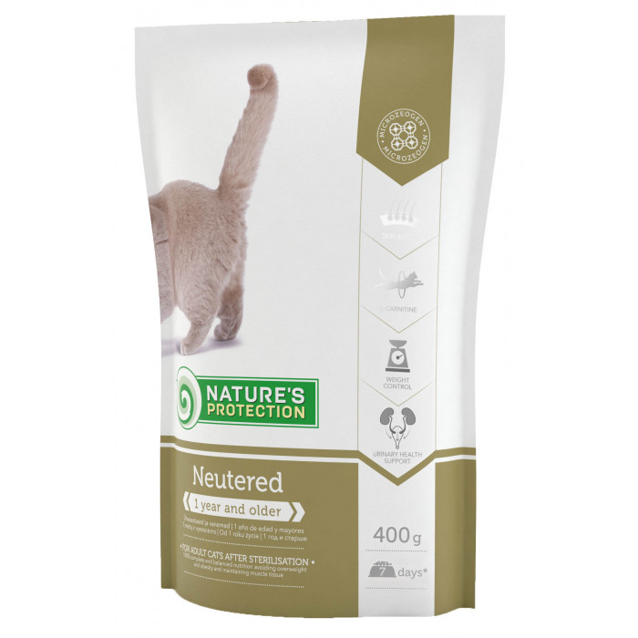 NATURE'S PROTECTION Sterilised Adult 1 year and older Poultry Sausas pašaras katėms