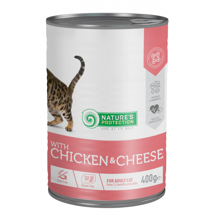 NATURE'S PROTECTION Cat adult with chicken & cheese Konservuotas pašaras