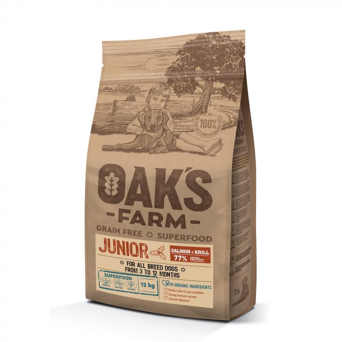 OAK'S FARM Grain Free Salmon with Krill Junior All Breed Dogs  sausas pašaras jauniems visų veislių šunims su lašiša