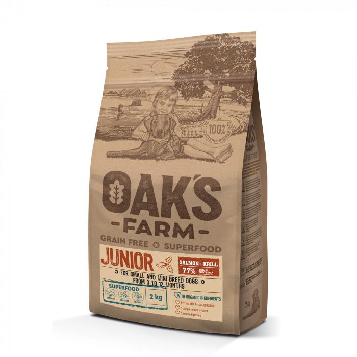 OAK'S FARM Grain Free Salmon with Krill Junior Small and Mini Breed Dogs sausas pašaras jauniems mažų veislių šunims su lašiša