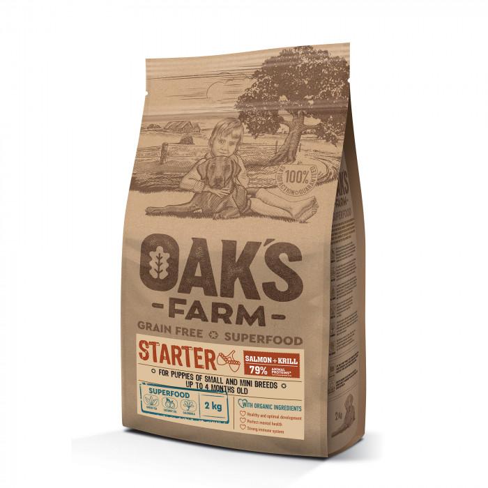 OAK'S FARM Grain Free Salmon with Krill Starter Small and Mini Breed Puppies  sausas pašaras jauniems mažų veislių šuniukams su lašiša