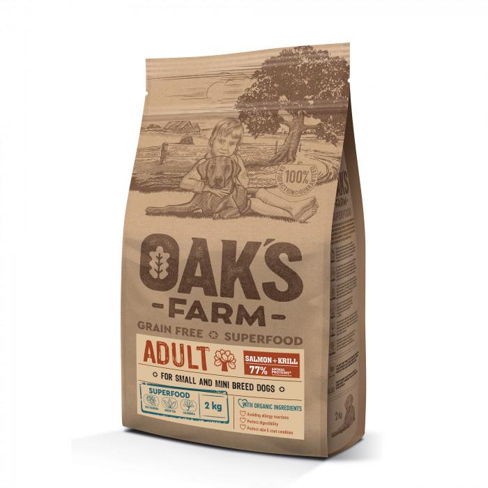 OAK'S FARM Grain Free Salmon with Krill Adult Small and Mini Breed Dogs  sausas pašaras suaugusiems mažų veislių šunims su lašiša