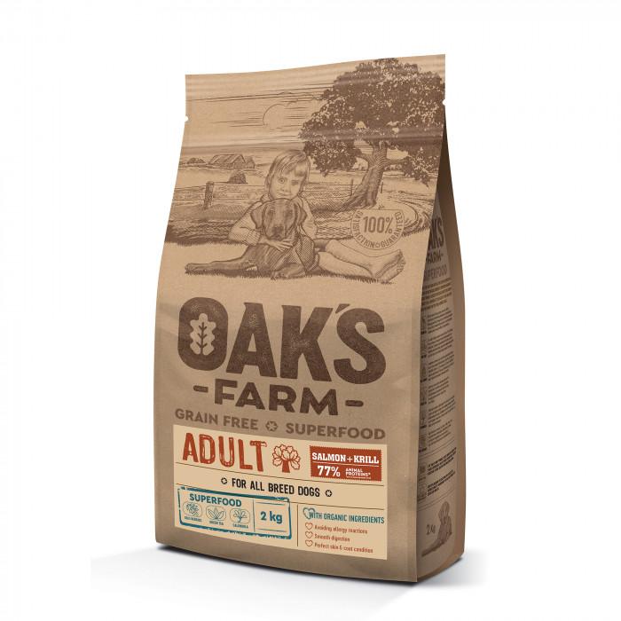 OAK'S FARM Grain Free Salmon with Krill Adult All Breed Dogs  sausas pašaras suaugusiems visų veislių šunims su lašiša