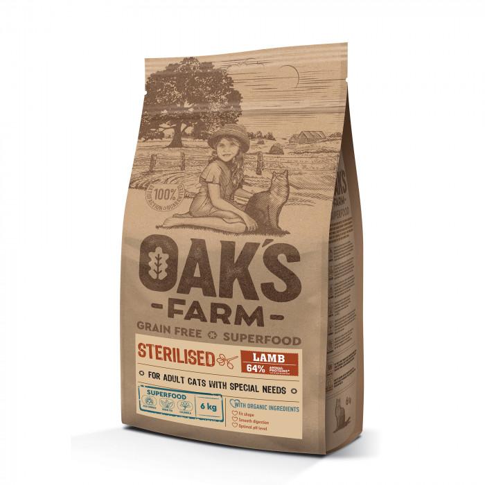 OAK'S FARM Grain Free Lamb Sterilised Adult Cat  sausas pašaras suaugusioms sterilizuotoms katėms su ėriena