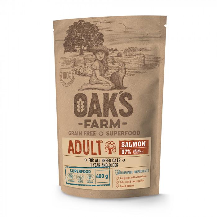 OAK'S FARM Grain Free Salmon Adult Cat  sausas pašaras suaugusioms katėms su lašiša