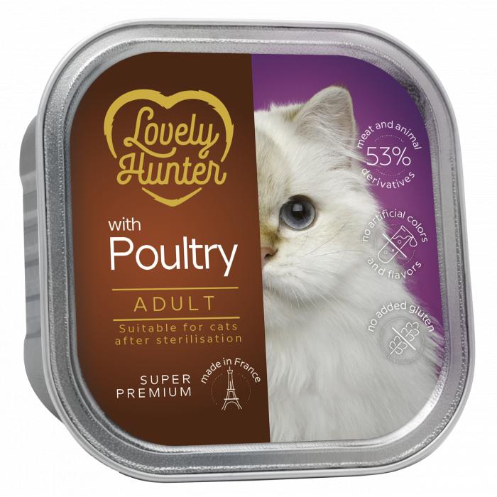 LOVELY HUNTER konservuotas pašaras suaugusioms sterilizuotoms katėms su paukštiena,