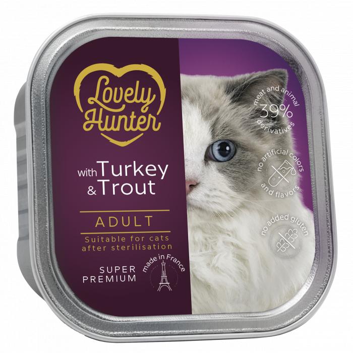 LOVELY HUNTER konservuotas pašaras suaugusioms sterilizuotoms katėms su kalakutiena ir upėtakiu,