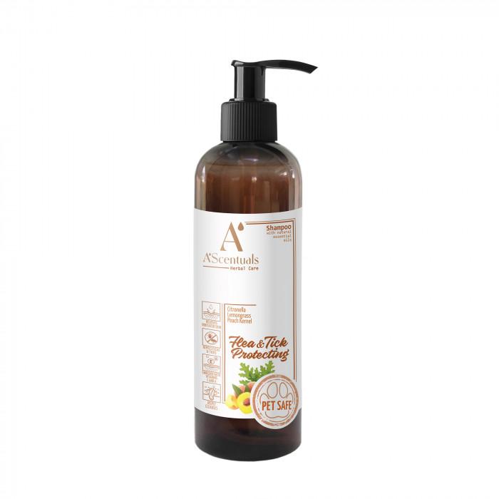 A'SCENTUALS Herbal Care Flea/Tick šampūnas su kokosų aliejumi