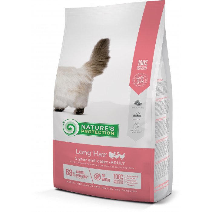 NATURE'S PROTECTION Longhair Adult 1 year and older Poultry  Sausas pašaras katėms