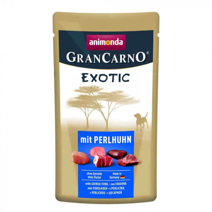 ANIMONDA GranCarno exotic, konservuotas suaugusių šunų pašaras su perlinių viščiukų mėsa,