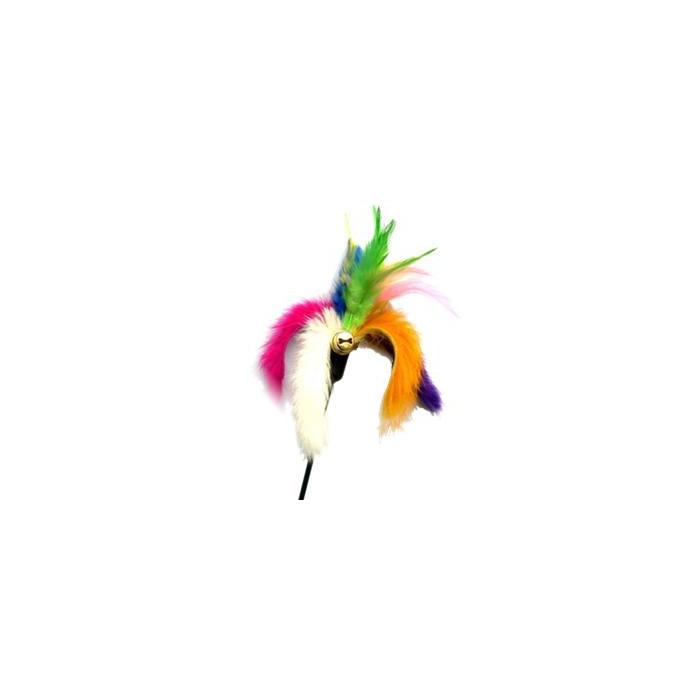 AMY CAROL Elastinis žaislas su kailiu ir plunksnomis