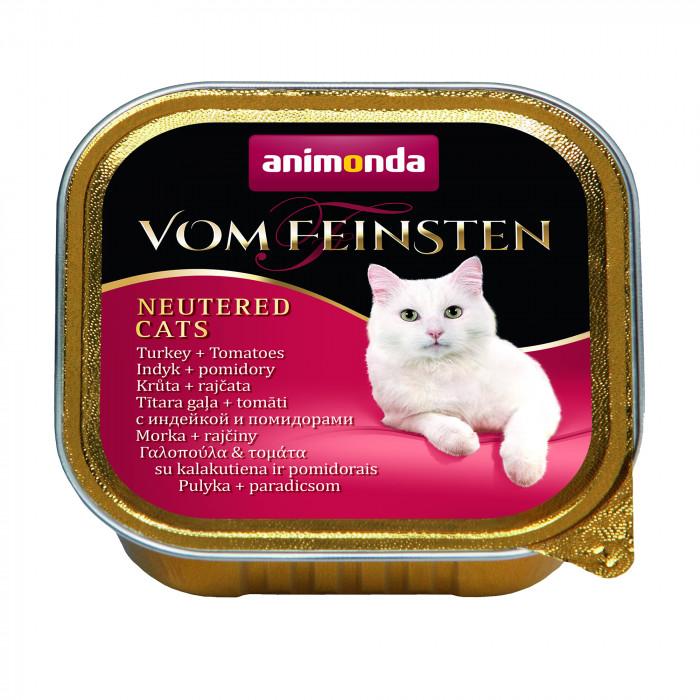 ANIMONDA Vom feinsten konservuotas sterilizuotų kačių pašaras su kalakutiena ir pomidorais,