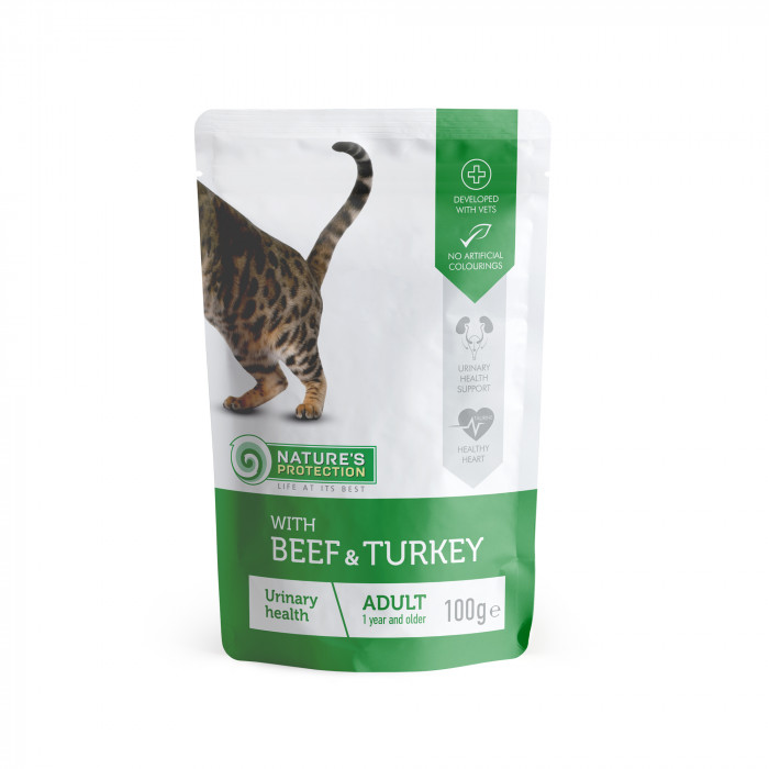 NATURE'S PROTECTION Urinary kons. kačių pašaras  su jautiena ir kalakutiena, maišelyje