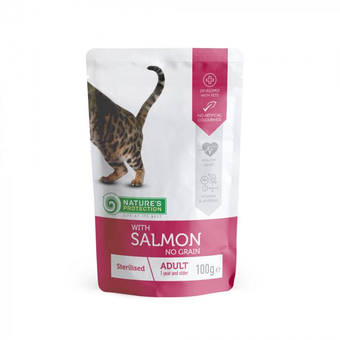 NATURE'S PROTECTION Sterilized  kons. kačių pašaras su lašiša, maišelyje