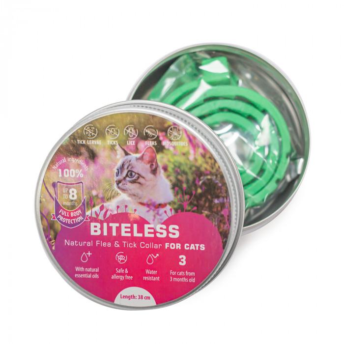 BITELESS Kačių antiparazitinis antkaklis,