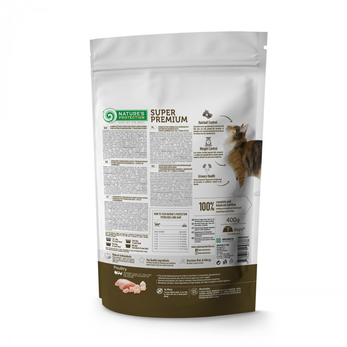 NATURE'S PROTECTION Sterilised Longhair Adult 1 year and older Poultry Sausas pašaras katėms
