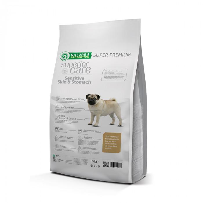 NATURE'S PROTECTION SUPERIOR CARE Sensitive Skin & Stomach Small Breeds Adult Lamb Sausas pašaras šunims