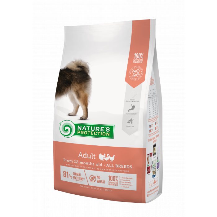 NATURE'S PROTECTION All breeds Adult From 12 months old Poultry Sausas pašaras šunims