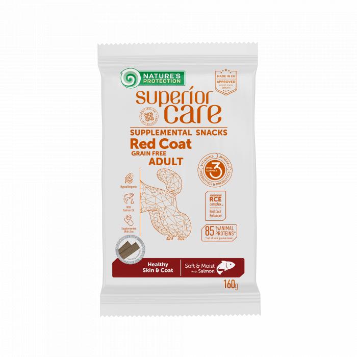 NATURE'S PROTECTION SUPERIOR CARE Red Coat Healthy Skin & Coat Grain free Salmon, pašaro papildas - skanėstas su lašiša, raudonkailiams suaugusiems šunims