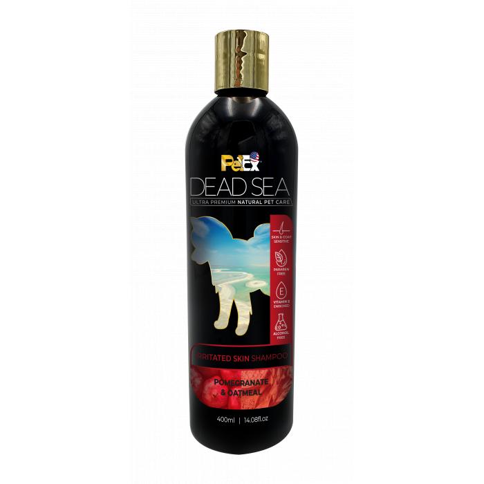 PETEX DEAD SEA Oatmeal & Pomegranate Shampoo For irritated skin Šunų ir kačių šampūnas atstatantis kailį po slinkimo, sudirgusios odos priežiūrai