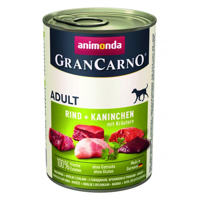 ANIMONDA Grancarno adult Konservuotas pašaras šunims su jautiena, triušiena ir žolelėmis