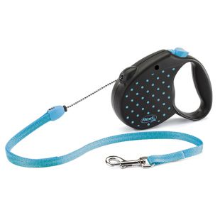 FLEXI Color Dots Pavadis, max 12kg, 5m virvelinis mėlynas, S