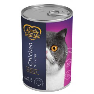 LOVELY HUNTER Konservuotas pašaras sterilizuotoms katėms su vištiena ir tunu 400 g
