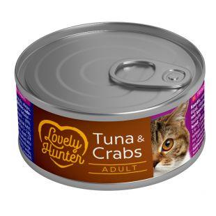 LOVELY HUNTER Konservuotas pašaras katėms su tunu ir krabais 85 g