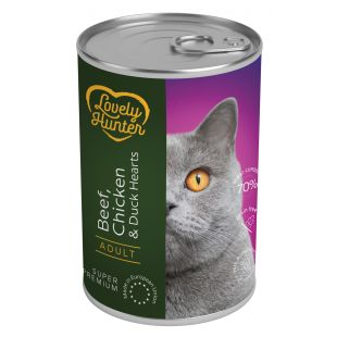LOVELY HUNTER Konservuotas pašaras katėms su jautiena, vištiena ir ančių širdelėmis 400 g
