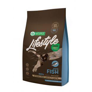 NATURE'S PROTECTION LIFESTYLE Adult Grain Free White Fish Sausas pašaras katėms Sterilised 1.5 kg