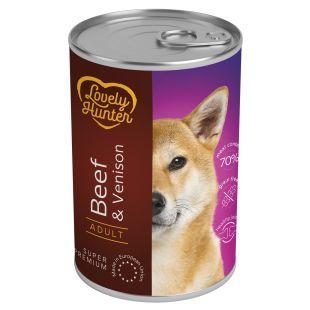 LOVELY HUNTER Adult Konservuotas pašaras šunims su jautiena ir elniena 400 g