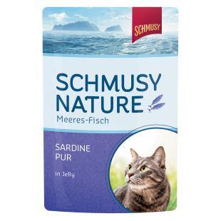 FINNERN MIAMOR Schmusy Nature Meeres-fish Konservuotas pašaras katėms su sardinėmis drebučiuose 100 g
