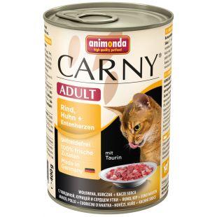 ANIMONDA Carny adult Konservuotas pašaras katėms su jautiena, vištiena ir ančių širdelėmis 400 g