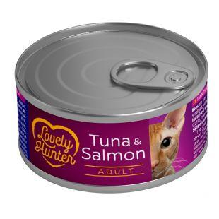 LOVELY HUNTER Konservuotas pašaras katėms su tunu ir lašiša 85 g