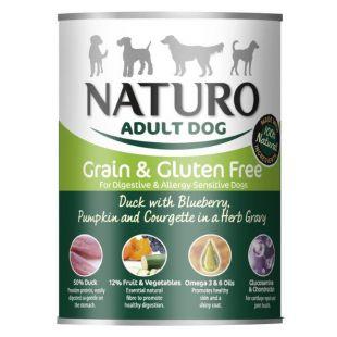 NATURO Grain Free Konservuotas pašaras šunims su antiena, mėlynėmis, moliūgais ir cukinijomis 390 g