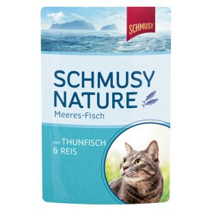 FINNERN MIAMOR Schmusy Nature Meeres-fish Konservuotas pašaras katėms su tunu ir ryžiais drebučiuose 100 g