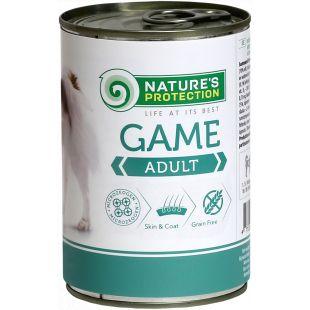 NATURE'S PROTECTION Dog Adult Game su žvėriena Konservuotas pašaras šunims 400 g