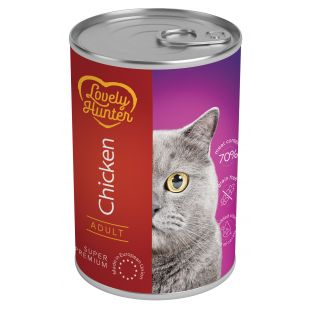LOVELY HUNTER Konservuotas pašaras katėms su vištiena 400 g