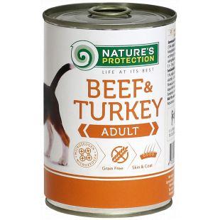 NATURE'S PROTECTION Dog Adult Beef & Turkey Konservuotas pašaras šunims 400 g