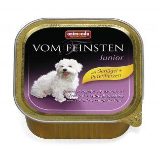 ANIMONDA Vom feinsten puppy Konservuotas pašaras šunims su paukštiena ir kalakutų širdimis 150 g