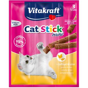 VITAKRAFT Cat-stick mini Katėms su paukštiena ir kepenėlėm 3 vnt