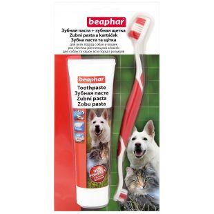 BEAPHAR Dantų šepetėlis ir dantų pasta šunims ir katėms pasta + šepetėlis