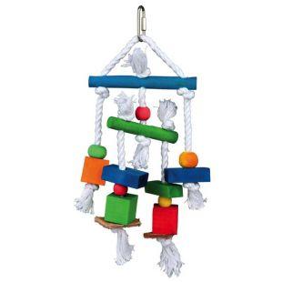 TRIXIE Žaislais paukščiams Medinis su oda ir virve 24 cm