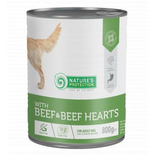 NATURE'S PROTECTION Beef and Beef Hearts Konservuotas pašaras šunims 800 g