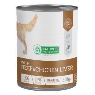 NATURE'S PROTECTION Beef and Chicken Liver konservuotas pašaras šunims 800 g