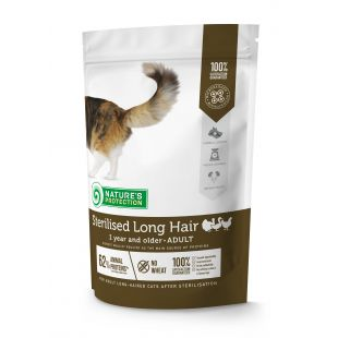 NATURE'S PROTECTION Sterilised Longhair Adult 1 year and older Poultry Sausas pašaras katėms 400 g