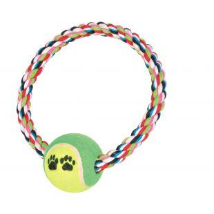 TRIXIE Žaislas Šunims Teniso kamuolys su virviniu ratu 18 cm / 6.4 cm